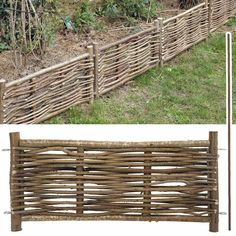 Bordure jardin en bois de noisetier. Cette bordure est fabriquée avec des branches de noisetier d'un bon diamètre (2.5cm), à la façon des bordures...