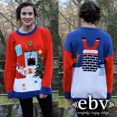 Vintage 80's Christmas Sweater Jumper S M L by shopEBV on Etsy