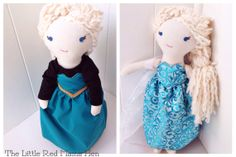 Frozen Inspired Elsa Cloth Doll with Reversible Coronation and Ice Queen Dress on Etsy, $60.00