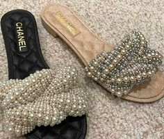 - Chanel Boots - Trending Chanel Boots for sales. Gold High Heel Sandals, Shoes Sandals, Flats, Cute Shoes, Me Too Shoes, Chanel Boots, Chanel Pearls, Coco Chanel, Mode Blog