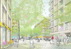 de - Architektur illustriert - Models and presentation drawings - Architecture Visualization, Architecture Drawings, Landscape Architecture, Landscape Plans, Urban Landscape, Landscape Design, Plaza Design, City Sketch, City Drawing