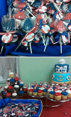 Nautical baby shower. Sails as cup cake toppers. Chocolate sail boats w/ anchor labels for party favors.