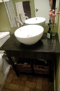 I want to make this! DIY Furniture Plan from Ana-White.com With raised sinks so popular these days, why not save some money and create a open vanity? You can add a shelf under the sink or even rolling laundry bins. This simple plan can be easily scaled to any space. Special thanks to our readers for sharing their photos.