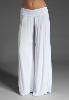 white flowing pant... Caribbean comfort. Enza Costa linen wide leg pant