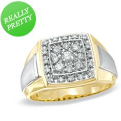 I've tagged a product on Zales: Men's 1/2 CT. T.W. Diamond Fashion Ring in 10K Two-Tone Gold
