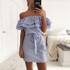 d5ff5c126b9 Lossky Women Dresses Striped Summer Dress Ruffle Collar 2018 Bandage  Sundress Casual Sexy Bodycon Summer Dress