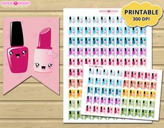 Nail Polish Printable planner stickers  for Erin Condren or Happy planner - filofax - Kikki K