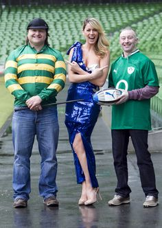 Rugby legend Shane Byrne and top jockey David Casey are pictured with model Jenny Lee Masterson ahead of the Fighting Blindness Sporting Dinner and Awards Night on Saturday 9th February 2013
