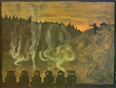1895 Hugo Gerhard Simberg June 1873 - 12 July was a Finnish symbolist painter and graphic artist. Tag Art, Drawing School, Owl Print, Art Database, Halloween Art, Vintage Halloween, Graphic Design Art, Illustration Art, Illustrations