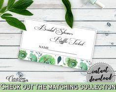 Raffle Ticket Bridal Shower Raffle Ticket Botanic Watercolor Bridal Shower Raffle Ticket Bridal Shower Botanic Watercolor Raffle 1LIZN - Digital Product #bridalshower #bridetobe