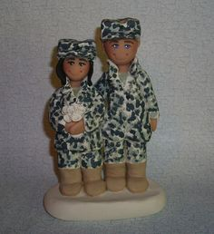 Ginger Babies custom wedding cake toppers - Military Couple