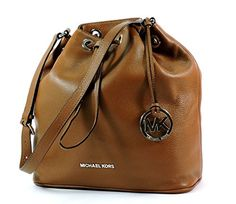 Michael Michael Kors Jules Large Drawstring Shoulder Bag in Luggage Brown Leather Silver Hardware >>> You can get more details at