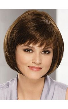 Bob Style Straight Capless Trendy Short Inclined Bang Real Natural Hair Wig For Women Bobs For Thin Hair, Short Hair With Layers, Short Hair Cuts For Women, Bob Hairstyles For Fine Hair, Wig Hairstyles, Natural Hair Wigs, Natural Hair Styles, Medium Hair Styles, Short Hair Styles