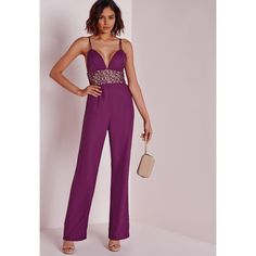 Missguided Lace Insert Strappy Jumpsuit (£17) ❤ liked on Polyvore featuring jumpsuits, purple, purple jumpsuit, jump suit and pink jumpsuit