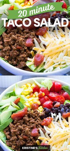 Healthy Ground Beef, Ground Beef Recipes Easy, Taco Salad Recipes, Healthy Salad Recipes, Healthy Lunches For Work, Healthy Tacos, Clean Eating Recipes, Healthy Eating, Easy Dinners