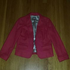 J. Crew Red Blazer Sz. 10 Like NEW This is a beautiful red blazer in excellent, like new condition. The only flaw I can see is on the inside; The J Crew tag itself is a little loose. Otherwise, it's flawless. It is fully lined. 100% wool lined in 100% acetate.  Clasp to close in the front. J. Crew Jackets & Coats Blazers