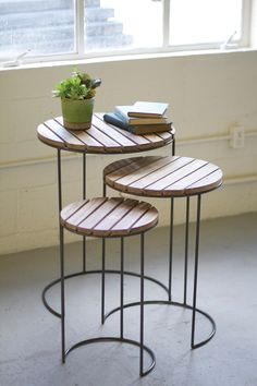 set of 3 nesting round tables  with slatted wooden tops