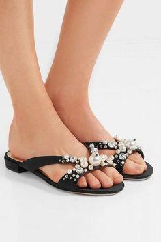 Miu Miu - Embellished Satin Slides - Black - IT39.5
