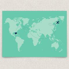 International - Modern destination wedding invitation with world map design. $4.00, via Etsy.