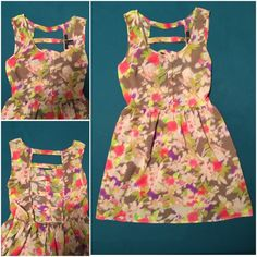 "F21 Floral Dress FOREVER 21 floral print dress. Light weight. Easy pullover. Elastic waist. Super comfortable. Unique detail in the back, fully lined with a built-in tank. 34"" L shoulder to hem. Medium fits like a size 6. Forever 21 Dresses Mini"