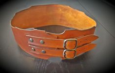Brown Baroque Leather Belt  Women's Wide Steampunk Belt by CrusaderArmoury