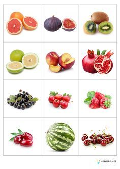 Print out and practice fruit names - memory matching game or flash cards use.