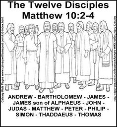 Image result for coloring the 12 disciples of jesus
