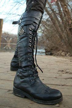 Femme Punk Zip Militaire Bottes Chaussures à Lacets Bottes cavalières hautes chaussures de randonnée