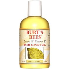 Burt's Bees Lemon and Vitamin E Bath and Body Oil, 118ml ❤ liked on Polyvore featuring beauty products, bath & body products and burt's bees