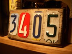 Custom handmade 4 number house address  sign made with recycled license plates..