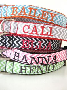 Custom Embroidered Chevron 1 Inch Dog Collar You Choose Colors. $40.00, via Etsy..