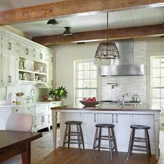Love the beams and crisp white color scheme