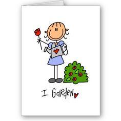 Stick figure I Garden greeting cards. #gardening