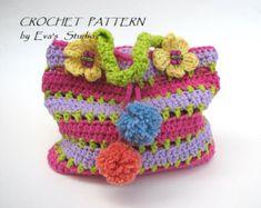 Crochet el bolso / monedero con gran flor y mariposa por EvasStudio