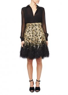 Gold Leopard Lace Feather Skirt Gonna Di Piume 51eee978b39