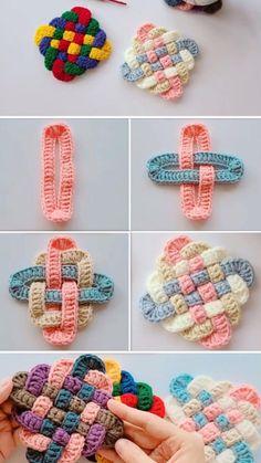Crochet Motifs, Crochet Square Patterns, Crochet Designs, Crochet Stitches, Knitting Patterns, Crochet Coaster Pattern, Diy Crochet Projects, Crochet Crafts, Sewing Crafts