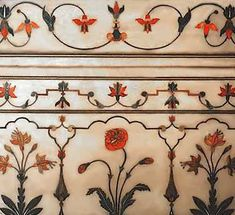 Petra dura inlay of poppies and lilies from the Taj Mahal, 17th c.