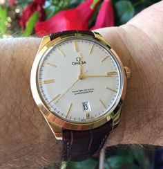 OMEGA Tresor Master Co-Axial Chronometer In 18K Yellow Gold Circa 2016 - https://omegaforums.net Omega Tresor Omegatresor Waffledial Menswear Mensfashion Wristshot Womw wruw Horology Classic Timeless Watches Watchporn Fashion Style Preppy Montres Uhren Orologio Chronometer Co-Axial Coaxial