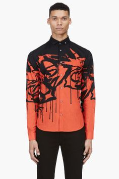 MCQ ALEXANDER MCQUEEN Red & Black Print Button-Down Shirt