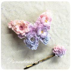 crochet flower hair pin