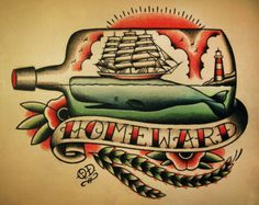 ship in a bottle chest piece tattoo - Google Search