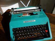 Vintage OLIVETTI studio 45 Typewriter // 69 Underwood Blue Portable Manual Typewriter with Case // Italian Slim Elegant Office School on Etsy, Sold