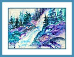 Colorado Watercolor Waterfall by MarthaKislingArt