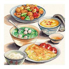 Your Food My Challenge 2019 Cơm tấm Sài Gòn Broken rice with grilled pork chop Vietnam 🇻🇳 Cute Food Art, Love Food, Food Sketch, Watercolor Food, Food Painting, Food Wallpaper, Food Drawing, Food Illustrations, Aesthetic Food