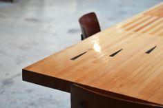 The Bowling Collection table | Tafel gemaakt van oude bowlingbanen.