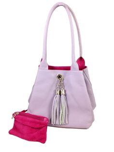 The Famke Lilac Leather Fuchsia Suede This Beautiful Reversible Bag Is Made In Italy