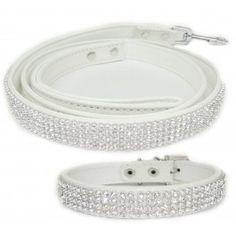 White 2 Pack Crystal Rhinestone Dog Leash and Dog Collar www.CrystalCase.com