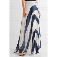 Alice + Olivia Shannon asymmetric pleated printed georgette maxi skirt ($555) ❤ liked on Polyvore featuring skirts, long accordion-pleat skirt, long pleated skirt, maxi skirts, accordion pleated skirt and alice olivia maxi skirt