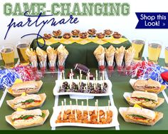 #Superbowl - Game Day - #Table #Spread.  Elegant Disposable #Dinnerware - By: Smarty Had A Party