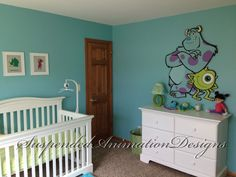 Monsters Inc Mike and Sully painted wall by SuspendedAnimationNY